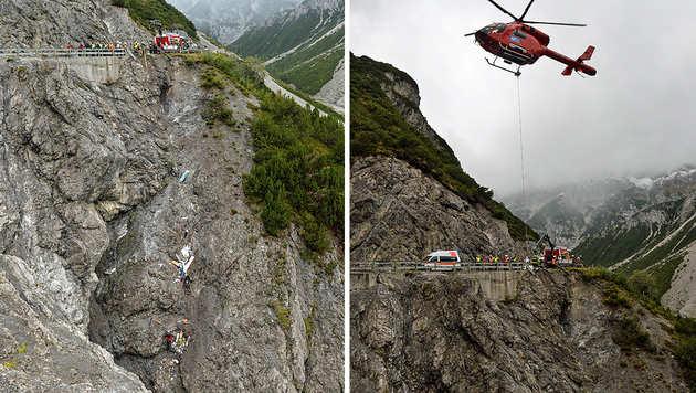 Campingwagen 40 Meter in Tiroler Schlucht gestürzt (Bild: zeitungsfoto.at/Liebl Daniel)