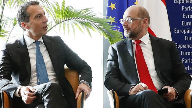 Christian Kern und Martin Schulz (Bild: APA/BKA/ANDY WENZEL)
