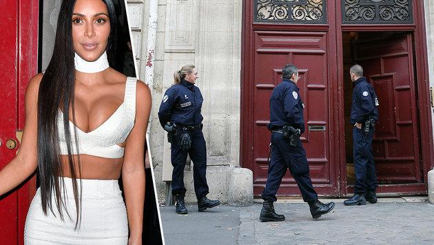 Kim Kardashian (l.),Polizisten vor dem 'L'Hotel de Pourtales' (r.) (Bild: Viennareport, APA/AFP/THOMAS SAMSON)