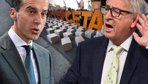 CETA-Pakt: EU geht auf Österreichs Bedenken ein (Bild: APA/ROLAND SCHLAGER, AFP/JOHN THYS, AFP/JOHN MACDOUGALL)