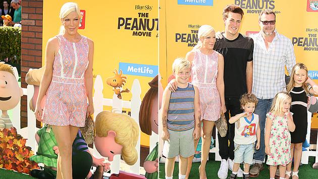 Tori Spelling und Dean McDermott mit ihren vier Kindern - und McDermotts Sohn Jack. (Bild: JBL/AFP/picturedesk.com)