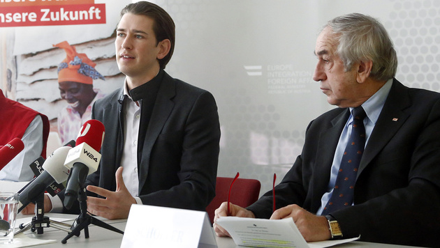 Außenminister Kurz und Rotkreuz-Präsident Schöpfer (Bild: APA/AUSSENMINISTERIUM/DRAGAN TATIC)