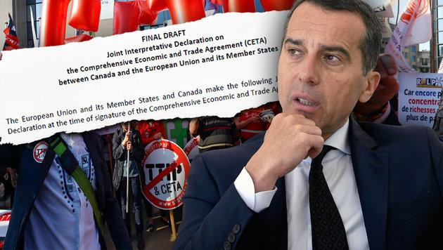 """Der bisher geheime """"Beipackzettel"""" zu CETA (Bild: EPA, APA/HARALD SCHNEIDER)"""