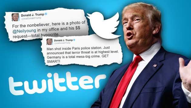 Die 273 Opfer, die Trump auf Twitter beflegelt hat (Bild: AP/Evan Vucci, twitter.com)