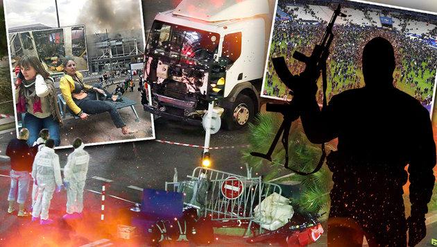 Terroristen schlugen heuer 15-mal in Europa zu (Bild: twitter.com, thinkstockphotos.de, AP, APA/AFP/FRANCK FIFE)