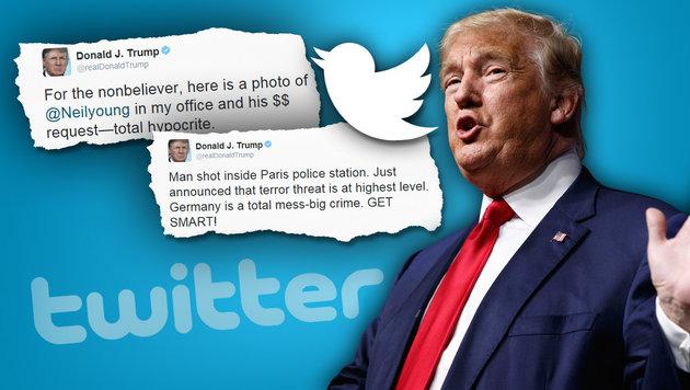Trump erklärt, warum er alles in die Welt twittert (Bild: AP/Evan Vucci, twitter.com)
