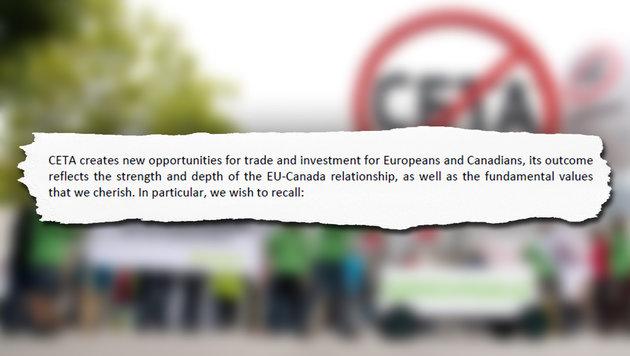"""Der bisher geheime """"Beipackzettel"""" zu CETA (Bild: AFP/JULIAN STRATENSCHULTE)"""