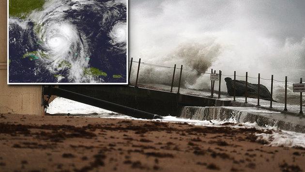 3 Mio. US-Bürger auf der Flucht vor Mega-Hurrikan (Bild: AFP/Getty Images/Joe Raedle, NASA/NOAA GOES Project)