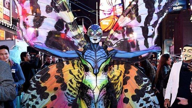 2014 ist Klum zu Halloween als Alien-Butterfly unterwegs. (Bild: Viennareport)