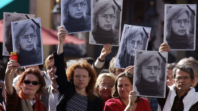 Gedenken an Anna Politkowskaja in Moskau (Bild: APA/AFP/DENIS SINYAKOV)