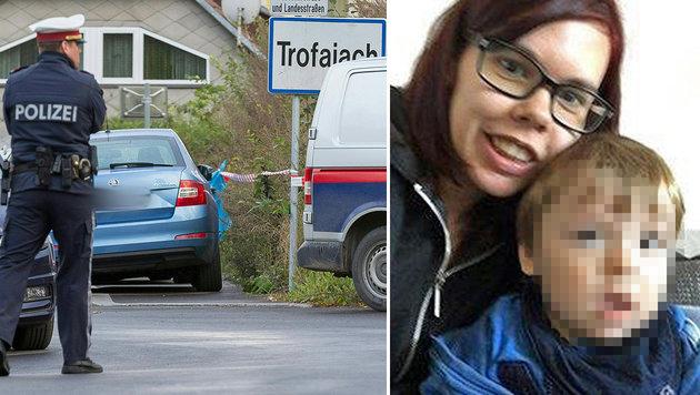 """Die Leichen von Claudia K. und Noah lagen in einem Gebüsch hinter der Ortstafel von Trofaiach. (Bild: APA/EXPA/DOMINIK ANGERER, """"Krone"""")"""
