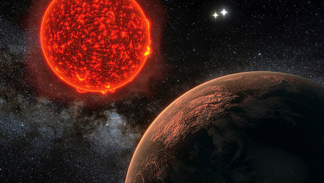 Illustration: Exoplanet Proxima Centauri b (rechts) vor seinem Stern (Bild: R. Ramirez & J. Jenkins (Universidad de Chile))