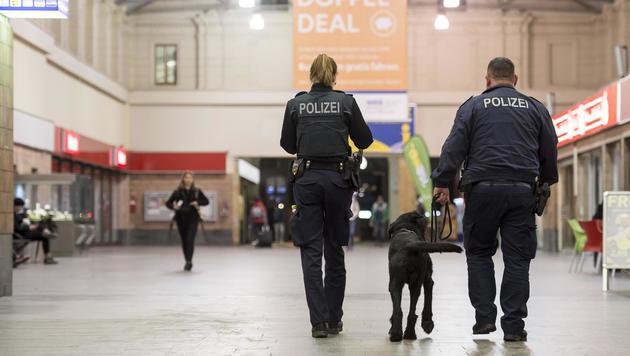 Verstärkte Polizeipräsenz auf Bahnhöfen und ... (Bild: APA/AFP/JENS-ULRICH KOCH)