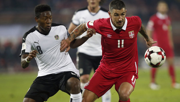 David Alaba (li.) im Zweikampf (Bild: Associated Press)