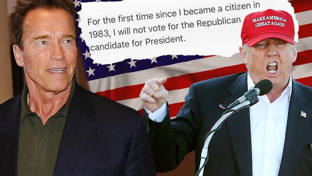 Auch Schwarzenegger, selbst Republikaner, distanziert sich von Trump. (Bild: APA/Robert Parigger, AP/John Bazemore, thinkstockphotos.de)
