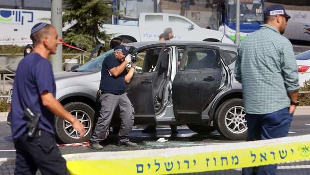 Spurensicherung nach dem Anschlag in Jerusalem (Bild: APA/AFP/MENAHEM KAHANA)