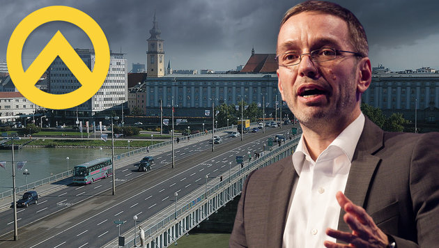 """FPÖ-Generalsekretär Kickl und die Identitären (li. deren Logo) sind bei dem """"Kongress"""" vertreten. (Bild: APA/Erwin Scheriau, Wikipedia, thinkstockphotos.de)"""