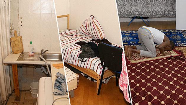 Heruntergekommene Küche, enges Schlafzimmer und Wohnzimmer als Gebetsraum (Bild: Zwefo)