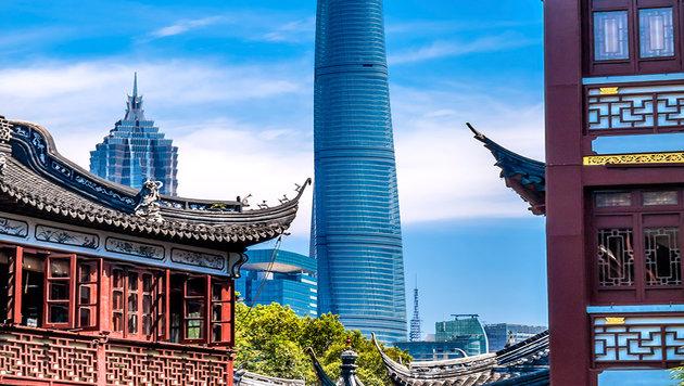 Der Shanghai Tower in China hat den schnellsten Aufzug der Welt. (Bild: thinkstockphotos.de)