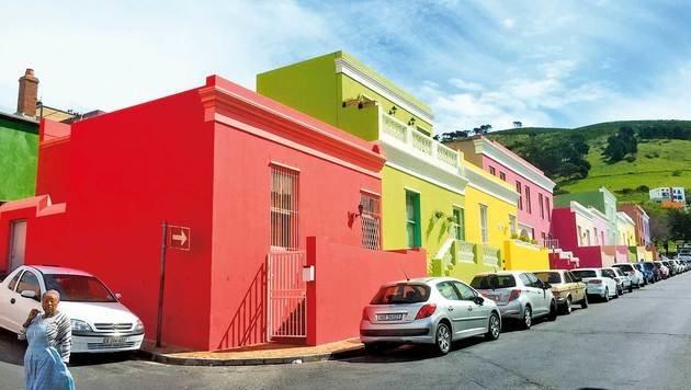 Bo-Kaap: Die bunten Häuser sind ein beliebtes Fotomotiv. (Bild: Gregor Brandl, Kronen Zeitung)