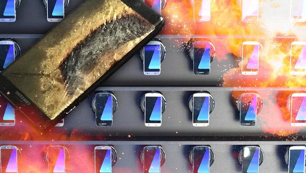 """Nach Feuer & Panik in Jet kommt """"Note 7"""" vom Markt (Bild: AFP/Kirill Kudryavtsev, twitter.com)"""