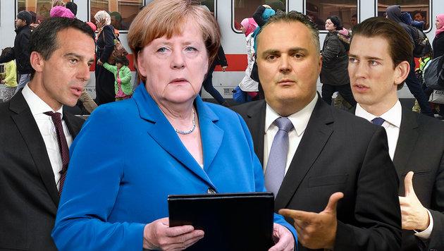 Kanzler Kern und die Minister Doskozil und Kurz übten zuletzt mitunter heftige Kritik an Merkel. (Bild: APA, APA/AFP)