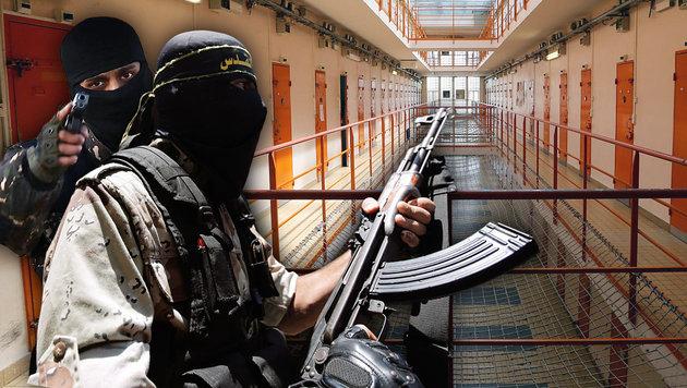 Studie: IS wirft ein Auge auf Europas Gefängnisse (Bild: AFP/FRANCOIS NASCIMBENI, AFP/WELAYAT RAQA, EPA/MOHAMMED SABER)