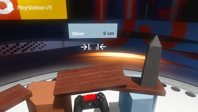 """Klötzchen zum Anfassen: In """"Tumble VR"""" darf hochgestapelt werden. (Bild: Sony)"""