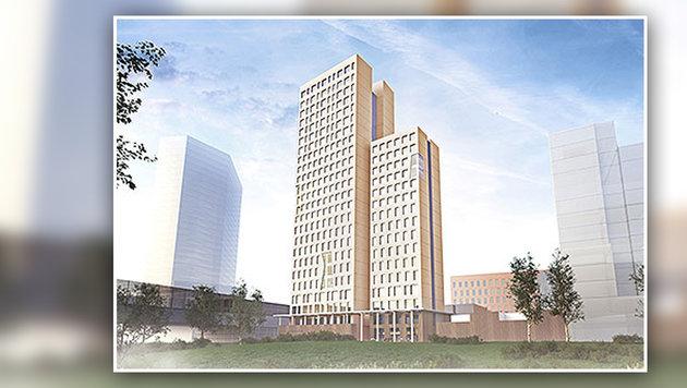 Das weltgrößte Holzhochhaus soll im Herbst 2018 fertiggestellt sein. (Bild: APA/OLN OFFICE LE NOMADE/RLP Rüdiger Lainer Partner)