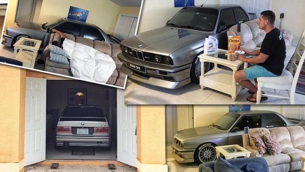 """US-Bürger """"parkte"""" seinen BMW im Wohnzimmer (Bild: instagram.com)"""