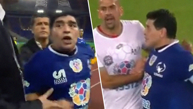 Benefizspiel für Papst: Maradona sorgt für Eklat (Bild: YouTube.com)