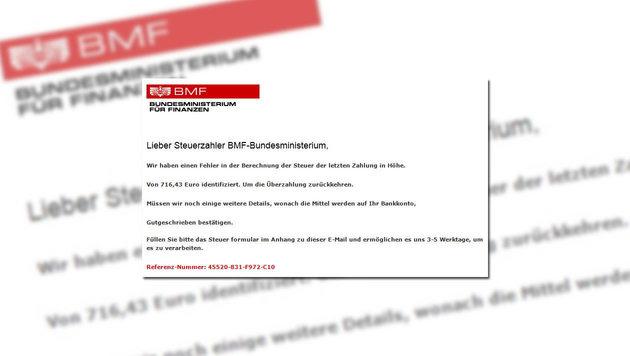 Finanzministerium warnt vor gefälschten Mails (Bild: bmf.gv.at, krone.at-Grafik)