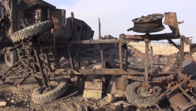 Eine zerstörte mobile Radarstation nach dem US-Angriff im Jemen (Bild: ASSOCIATED PRESS)