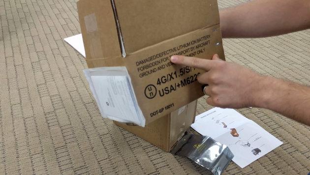 Samsung verschickt feuerfeste Note-7-Verpackungen (Bild: YouTube.com)