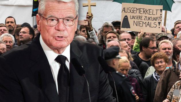 Deutschlands Bundespräsident Joachim Gauck spricht sich für Grenzen im Dialog mit Wutbürgern aus. (Bild: AFP/ODD ANDERSEN, AFP/MARKUS SCHREIBER)