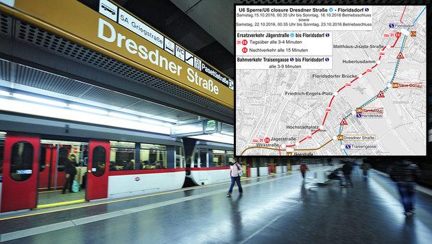 U6-Ersatzverkehr nach Floridsdorf am Wochenende (Bild: Wiener Linien)