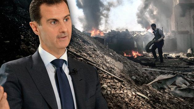 Syriens Präsident Bashar al-Assad wird von Russland gestützt. (Bild: AFP/SAMEER AL-DOUMY, AFP/SANA)