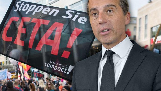 """Kern: """"Österreich wird CETA nicht blockieren"""" (Bild: dpa/Wolfram Kastl, APA/HERBERT NEUBAUER)"""