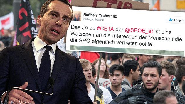 "Nach Ja zu CETA: Jetzt geht""s in der SPÖ rund! (Bild: APA/HERBERT PFARRHOFER, APA/AFP/DPA/BORIS ROESSLER, twitter.com)"
