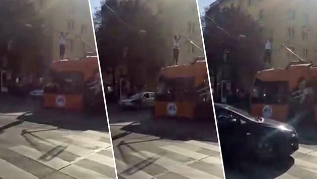Mehrmals berührte der junge Syrer die Oberleitung der Straßenbahn. (Bild: Facebook.com/Betül Arslan)