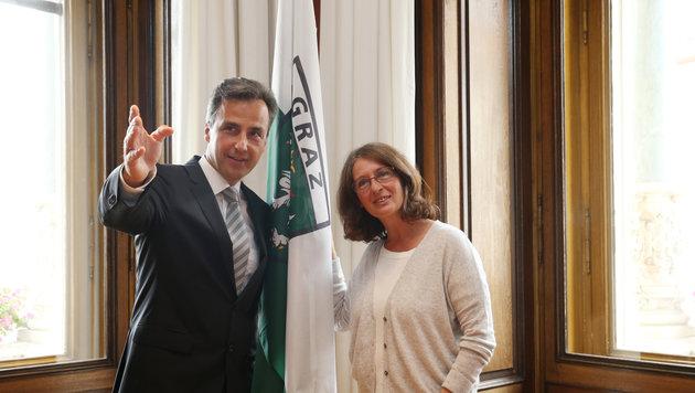 Der Grazer Bürgermeister Siegfried Nagl und Elke Kahr (KPÖ) (Bild: Krone)