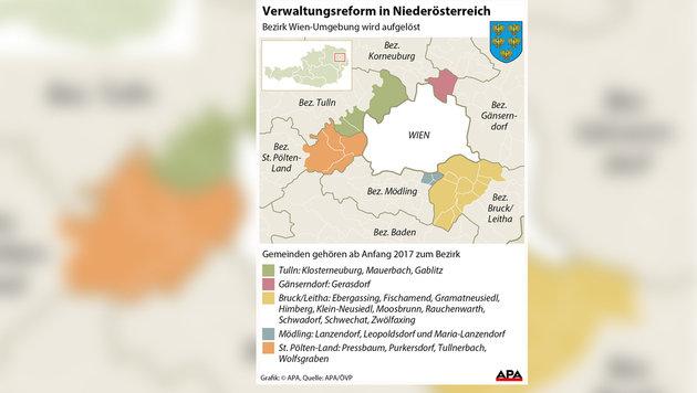 Aus für Wien-Umgebung: Bezirksauflösung naht (Bild: APA Grafik)