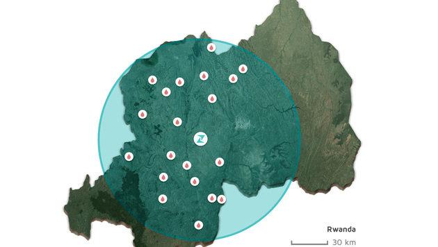 Mit einer einzelnen Basis erreichen die Zipline-Drohnen fast alle Kliniken im Land. (Bild: Zipline)