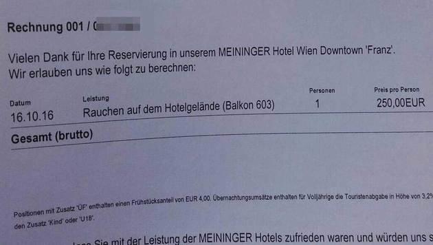 """""""Wien: Hotel verrechnet 250 € für Rauchen am Balkon (Bild: facebook.com)"""""""