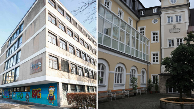 Im BRG Akademiestraße (li.) und im Herz-Jesu-Gymnasium lagen Uranstein-Proben. (Bild: Markus Tschepp)