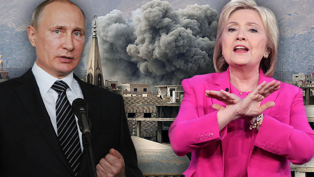 "Putin: ""Wer Clinton wählt, wählt den Krieg"" (Bild: GIUSEPPE CACACE/AFP/picturedesk.com, APA/AFP/AMER ALMOHIBANY, AP)"