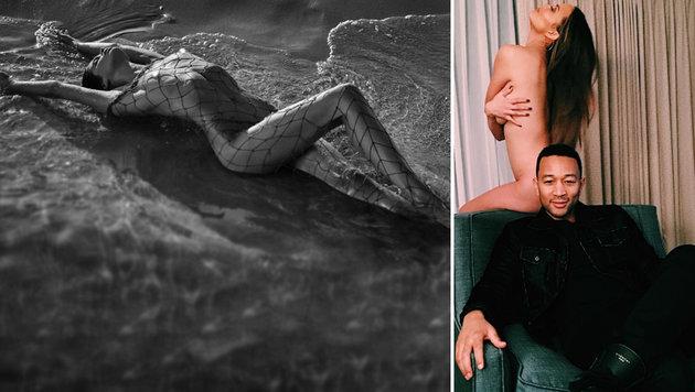 Auch im Herbst hält Stars nichts in den Kleidern (Bild: instagram.com/chrissyteigen, instagram.com/sarasampaio)