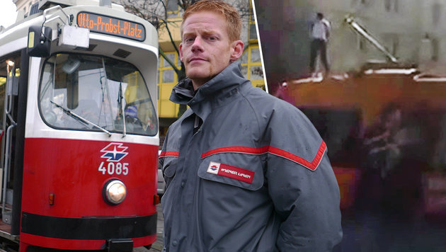 Wiener-Linien-Bimfahrer Robin S. rettete dem tobenden Syrer das Leben. (Bild: Gerhard Bartel, facebook.com/Betül Arslan)