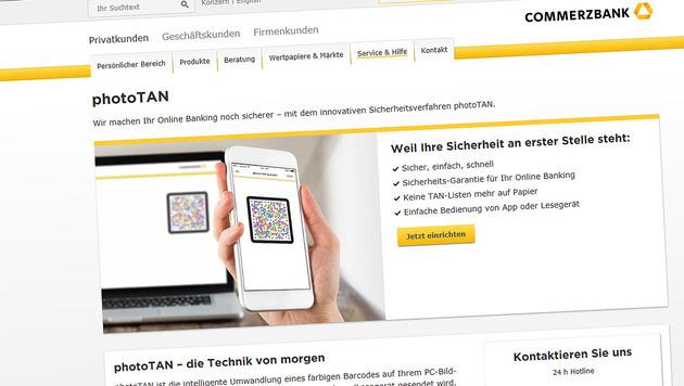 photoTAN-Verfahren auf Android-Handys geknackt (Bild: Screenshot Commerzbank)