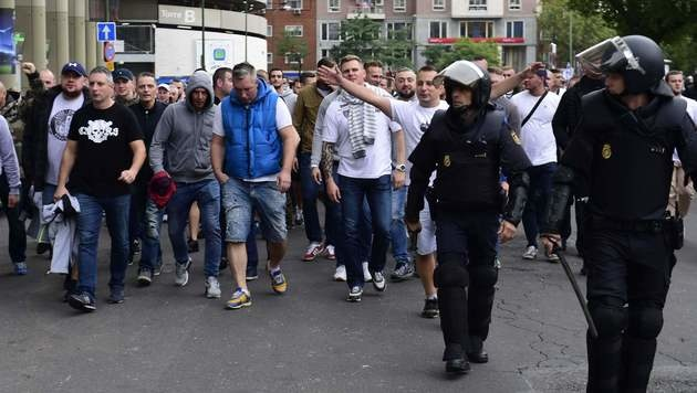 13 Legia-Fans nach Randalen in Madrid festgenommen (Bild: AFP)